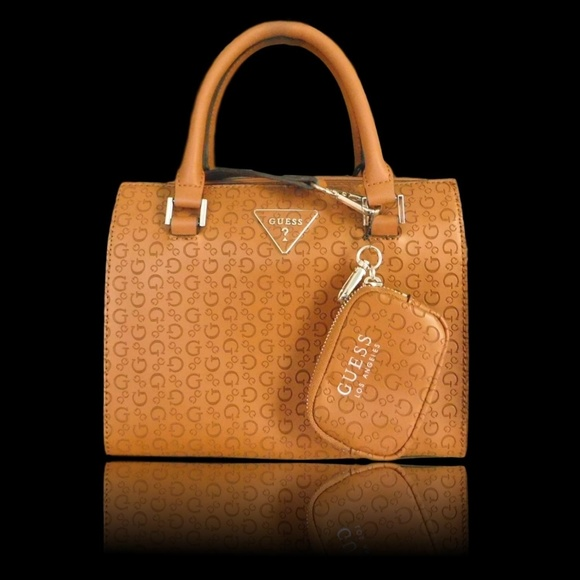 GUESS Handbags - GUESS TAN G LOGO LEVINE SATCHEL HANDBAG